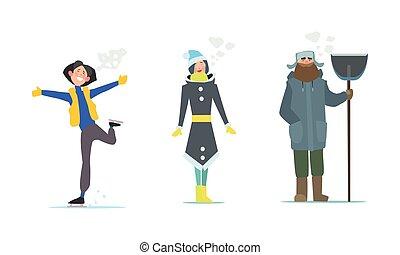 pala, invierno, gente, ropa, ilustración, patinaje, vector, niña, hombre