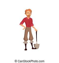 pala, lavoro, giovane, illustrazione, vettore, contadino, cartone animato, giardiniere