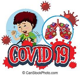 palabra, 19, enfermo, covid, pulmones, niño, malo, diseño, ...