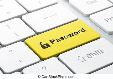 palabra, abierto, render, protección, teclado, seleccionado, foco, botón, candado, computadora, entrar, icono, contraseña, concept:, 3d