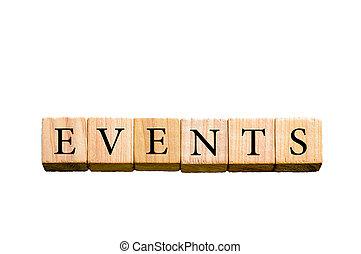 palabra, acontecimientos, aislado, blanco, plano de fondo,...