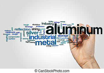 palabra, aluminio, nube