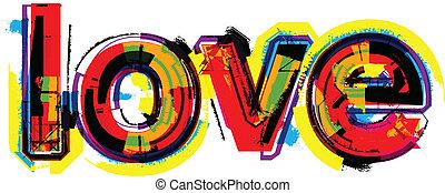 palabra, amor, artístico