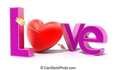 palabra, amor, con, colorido, cartas