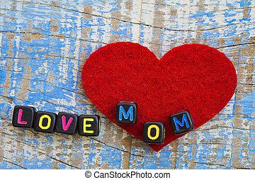 palabra, amor, corta en dados, mamá