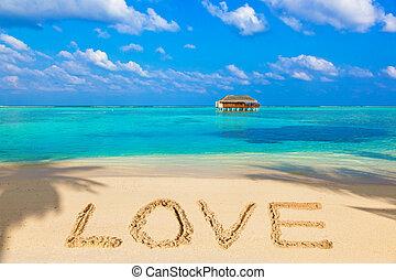 palabra, amor, en, playa
