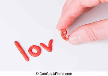 palabra, amor, en, un, fondo blanco