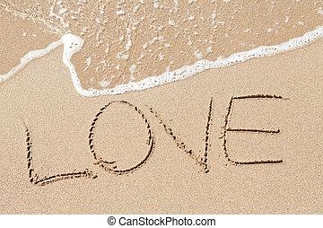 palabra, amor, escrito, en la playa