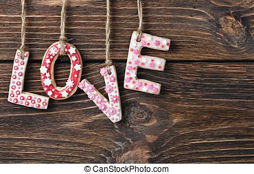 palabra, amor, hecho, de, galletas, día de valentín