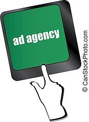 palabra, anuncio, agencia, computadora, publicidad, teclado, concept: