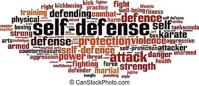 palabra, autodefensa, nube