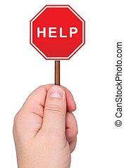 palabra, ayuda, mano., asideros, señal, advertencia