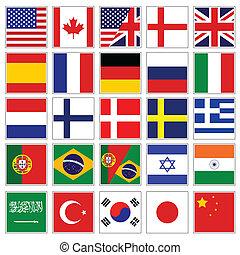 palabra, bandera, botones