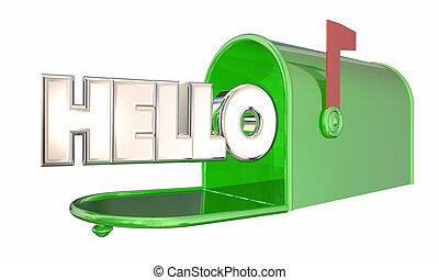 palabra, bienvenida, saludo, ilustración, buzón, hola, 3d