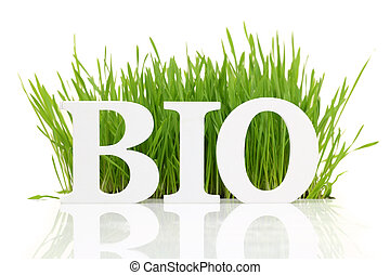 "palabra, ""bio"", aislado, fresco, blanco, pasto o césped"