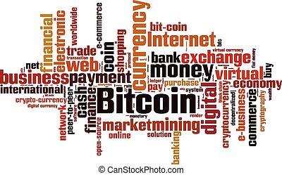 palabra, bitcoin, nube