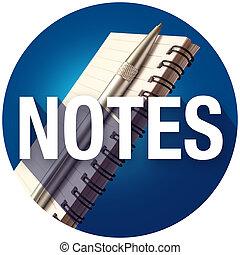 palabra, bloc, notas, recordatorios, largo, escribir, pluma,...