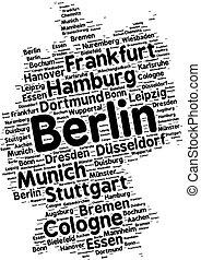 palabra, ciudades, alemania, nube
