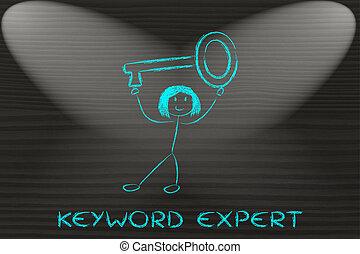 palabra clave, experto, tenencia, llave, niña, demasiado ...