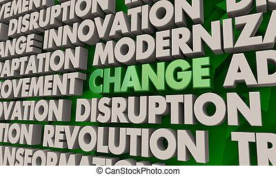 palabra, collage, ilustración, interrupción, innovación, transformación, cambio, 3d