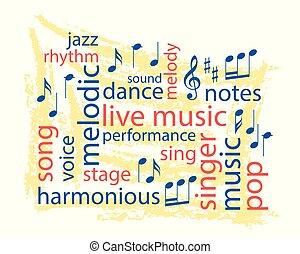 palabra, colorido, collage, -, vector, música