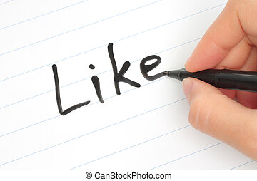 palabra, como, mano, marcador, escritura