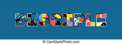 palabra, concepto, arte, discípulo, ilustración