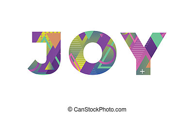 palabra, concepto, retro, colorido, alegría, ilustración, arte