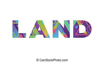 palabra, concepto, tierra, retro, colorido, ilustración, arte