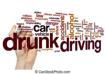 palabra, conducción, nube, borracho