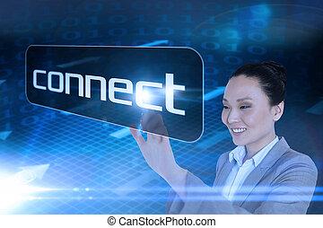 palabra, conectar, señalar, mujer de negocios