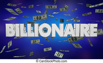 palabra, conseguir, dinero, ilustración, rico, billonario, ...