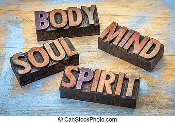 palabra, cuerpo, Extracto, alma, mente, espíritu