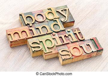 palabra, cuerpo, resumen, alma, mente, madera, tipo, espíritu