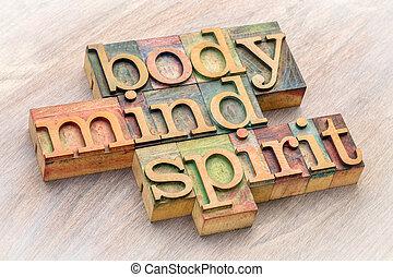 palabra, cuerpo, resumen, mente, madera, tipo, espíritu