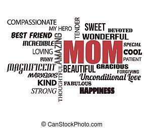 palabra, día, nube, madres