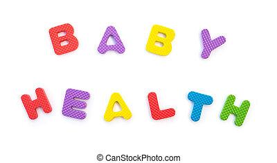 palabra, de, bebé, salud, formado, por, alfabeto, rompecabezas, blanco