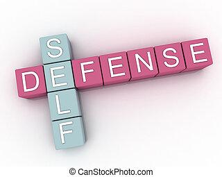 palabra, defensa, imagen, plano de fondo, 3d, sí mismo, nube...