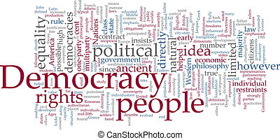 palabra, democracia, nube