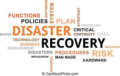 palabra, -, desastre, nube, recuperación