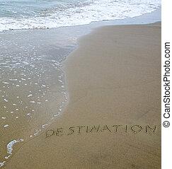 "palabra, ""destination"", dibujado, en, mar, playa"