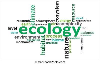 palabra, ecología, -, nube