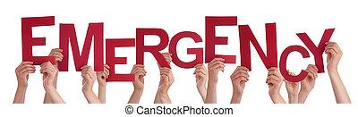 palabra, emergencia, gente, muchos, manos de valor en cartera, rojo