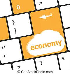 palabra, empresa / negocio, concept., computadora de teclado, plano de fondo, entrar, botón, economía