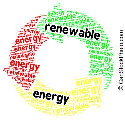 palabra, energía, aislado, renovable, nube blanca