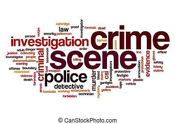 palabra, escena, nube, crimen