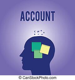 palabra, escritura, texto, account., concepto de la corporación mercantil, para, registro, declaración, financiero, movimientos, relativo, a, particular, período
