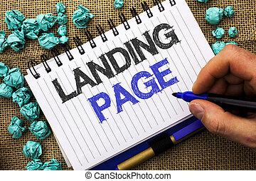 palabra, escritura, texto, aterrizaje, page., concepto de la corporación mercantil, para, sitio web, accessed, por, hacer clic, un, enlace, en, otro, página web, escrito, por, hombre, tenencia, marcador, en, cuaderno, libro, en, el, yute, fondo.