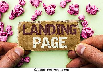 palabra, escritura, texto, aterrizaje, page., concepto de la corporación mercantil, para, sitio web, accessed, por, hacer clic, un, enlace, en, otro, página web, escrito, en, lágrima, cartón, pedazo, tenencia, por, hombre, en, el, llanura, fondo.