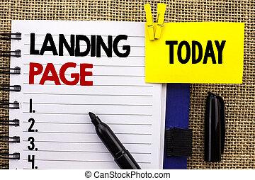 palabra, escritura, texto, aterrizaje, page., concepto de la corporación mercantil, para, sitio web, accessed, por, hacer clic, un, enlace, en, otro, página web, escrito, en, cuaderno, libro, en, yute, plano de fondo, hoy, con, clip, marcador, al lado de, it.